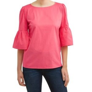 Time and Tru women's Bell sleeve woven popover top